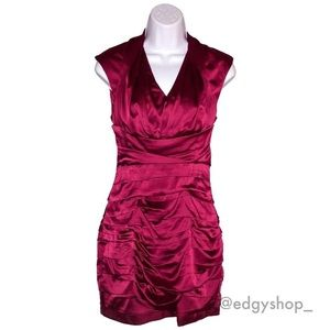 [Express] Ruched Colorblock Silky Dress